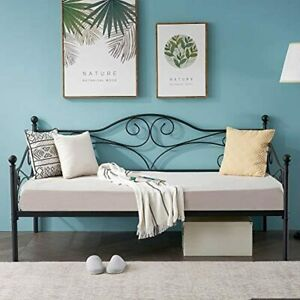 VECELO Premium Daybed Metal Bed Frame Twin Size Steel Slat Support/Strong Legs H