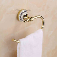 Gold Brass Hotel Towel Rack Holder Bathroom Ceramic Base Towel Ring Hanger