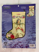 Candamar Designs Christmas Angel Tidings of Joy Cross Stitch Stocking Kit Beaded