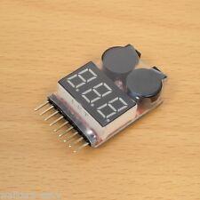 2PCS 1-8S LiPo Battery Voltage Meter Checker Tester with Buzzer Alarm -USA