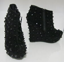 "Womens Black Spike 5.5"" Wedge 1.5"" Platform Sexy Ankle Boots Size 5.5"