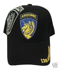 US ARMY 13th Airborne Division Ball Cap WW II Veteran World War 2 BLACK Vet Hat
