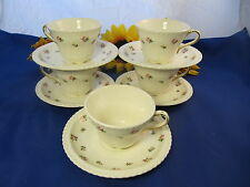 Harker Harkerware ROSE BUD Cups & Saucers w/ Gold Trim Royal Gadroon Set Of 5
