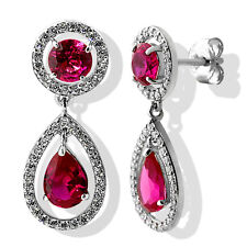 3.39CT AMAZING ROUND RUBY PEAR SHAPE DANGLING EARRINGS 14K WG PLATED 925 SILVER