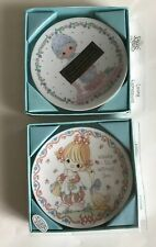 2 vtg 1992 precious moments porcelain mini display plate loving expressions
