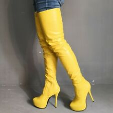Womens Over Knee Thigh High Boots Round Toe Zipper Boots Fashion Platform Shoes