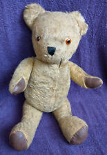 VINTAGE TEDDY BEAR - MOHAIR WITH ORANGE EYES - JOINTED AND RATTLER - FREE P&P