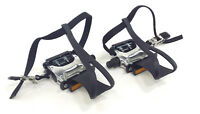 """Alloy Bicycle Pedals Road/City Bike 9/16"""" With Toe Clips & Straps"""