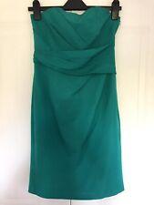 Costa Verde Vestido Lápiz Sin Tirantes Talla 10 Blusa Acanalada Plisado Fiesta Ocasión