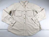 LL Bean Women Medium M Beige Check Vented Long Sleeve Shirt Top Pockets Button