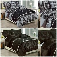 Grey Black Luxury Damask Printed Duvet Quilt Cover Bedding Set Super King Double