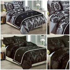 Grey Black Luxury Damask Printed Duvet Quilt Cover Bedding Set Super King Double