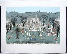 Signed Listed Cuca Romley Hand Colored Limited Country Wedding Folk Art Etching