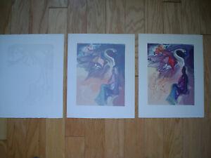 SALVADOR DALI - 3 Divine Comedy Woodblock Prints - Paradise 19 Progressive Set