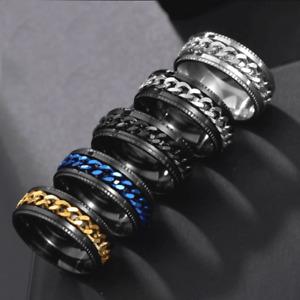 Mens womens fashion black gift Chain Spinner ring band wedding engagement R89