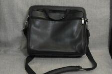 FORAY Black Leather Laptop Computer Shoulder Briefcase Bag Case