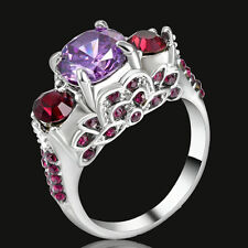 Size 8 Amethyst Inlay CZ Wedding / Engagement Ring white Rhodium Plated Gift