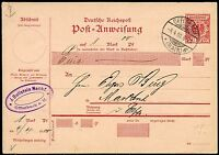GERMANY REICHPOST 10 pfg POST ANWEISUNG  POSTCARD CANCELLED  OFFENBACH 4.4.00