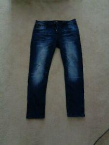 "Crosshatch Black Label Mens Faded Skinny jeans 36'' waist 30"" leg button fly"
