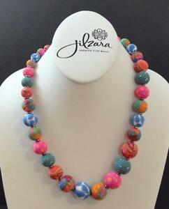 Jilzara Mosaic Elastic Medium Keepsake Necklace Polymer Clay Beads Handmade R2