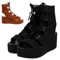 Womens Ghillie Lace Up Tie High Flatform Platform Wedge Heel Sandals Shoes