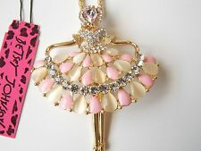 Betsey Johnson Rhinestone Dancing beauty Pendant Necklace #F102