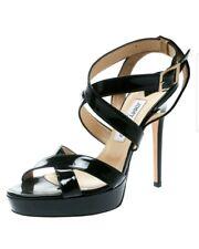 Jimmy Choo Louisa Black Patent Leather High Heel Sandals size 9 EUR 39 $795 EUC