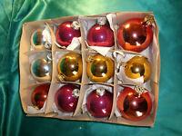 12 alte große Christbaumkugeln Glas silber gold rot lila Weihnachtskugeln CBS