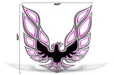 """42"""" X 42"""" Firebird Hood Graphic Decal Sticker For Pontiac Trans Am PINK GREY"""