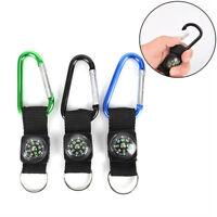 2 in 1 Camping Climbing Hiking Carabiner With Keychain Compass Hanger Key Ring -