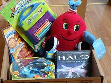 Box of gaming merchandise ( pacman ,  skylanders ,halo )