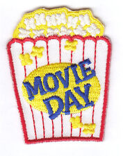 """""""MOVIE DAY"""" PATCH - Iron On Embroidered Patch/Food,Entertainment,Show,Movies"""