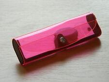 BRILLENETUI/-BOX - pink - transparent - Druckknopf - NEU - #1480/1534/1535