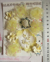 LEMON IVORY & WHITE Mix 5 Styles = 10 PAPER & SILK Flowers 25-55mm across VC4