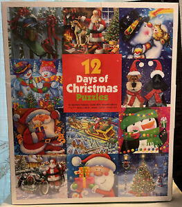 """Ceaco 12 Days Of Christmas Puzzles 12  7""""x7"""" 100 Piece Puzzles, Brand New"""