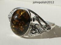 Fantastic Hand Made Big Baltic Amber Bangle on Silver 925