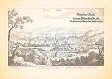 Buda Ofen Budapest Donau Ungarn Thermalbad Burgpalast Kupferstich Merian 0985