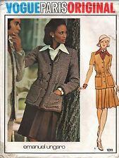 Vogue Sewing Pattern Emanuel Ungaro Jacket Shirt Skirt 1011 Size 8 1970's Uncut
