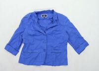 Isle Womens Size 14 Cotton Blend Blue Jacket
