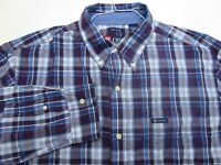 Chaps Button Up Shirt Adult Extra Large Tall Purple Blue Casual Long Sleeve Mens