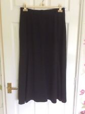 Bianca designer black calf length floaty skirt with side slits size 42 (14uk)
