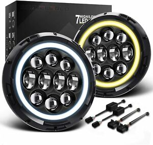 "7"" Inch 75W Round LED Halo Headlights With White DRL Amber Turn Light Blinker"