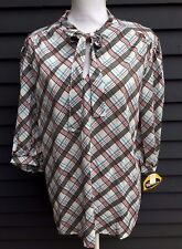 Vintage women's top tunic blouse NWT Lucky Britches white red blue plaid 1970's