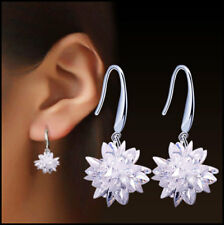 Sterling Silver Crystal Ice Snowflake Star Flower Drop Dangle Earrings, Gift Box