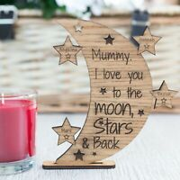 Personalised Mother's Day Gifts Love You to the Moon & Back Plaque Family Oak