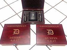 5 Personalized Groomsmen Gift box Engraved Flask Sets Wedding Custom Wood Case