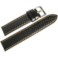 e829986370b 20mm Hadley-Roma MS847 Black Carbon Fiber Leather Orange Stitch Watch Band  Strap