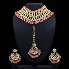 Indian Bollywood Wedding Design Peach Kundan Necklace with Earring & Maang Tikka