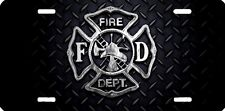 Fire Dept vfd diamond plate look airbrushed car tag license plate 11