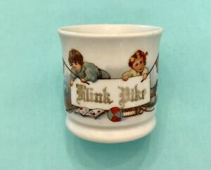 Antique Childs Cup Mug Norway FLINK PIKE or GOOD GIRL w Norwegian Flags Germany?